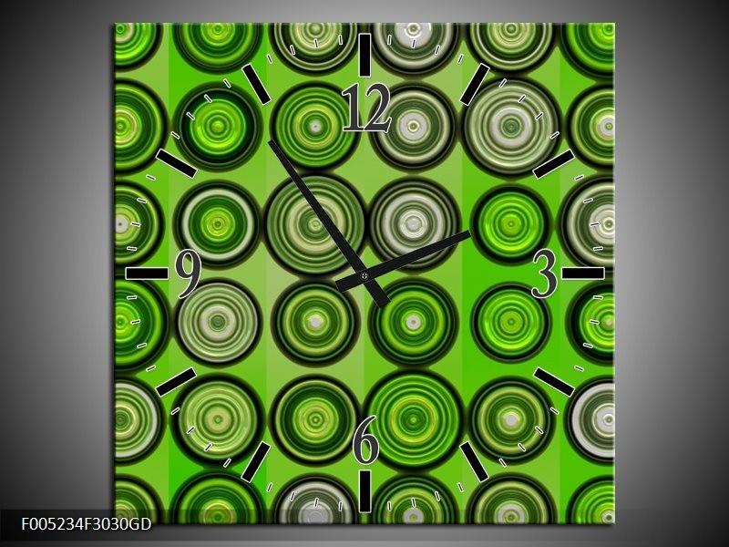 Wandklok op Glas Modern | Kleur: Groen, Grijs, Zwart | F005234CGD