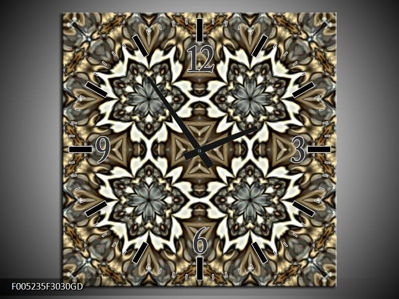 Wandklok op Glas Modern | Kleur: Grijs, Wit | F005235CGD