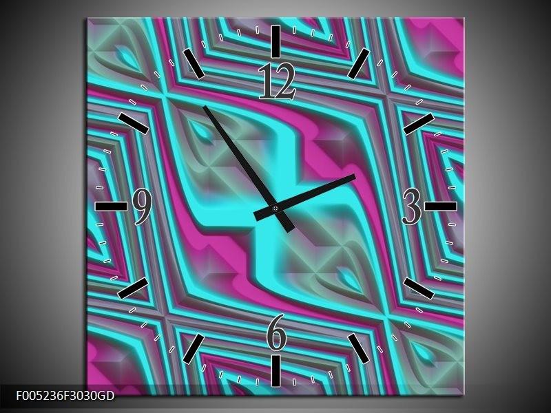 Wandklok op Glas Modern | Kleur: Blauw, Paars | F005236CGD