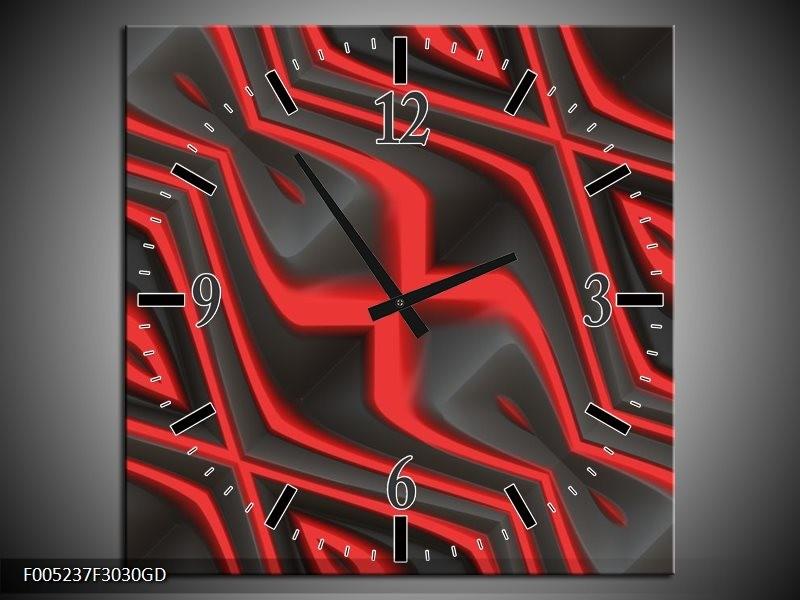 Wandklok op Glas Modern | Kleur: Rood, Grijs | F005237CGD