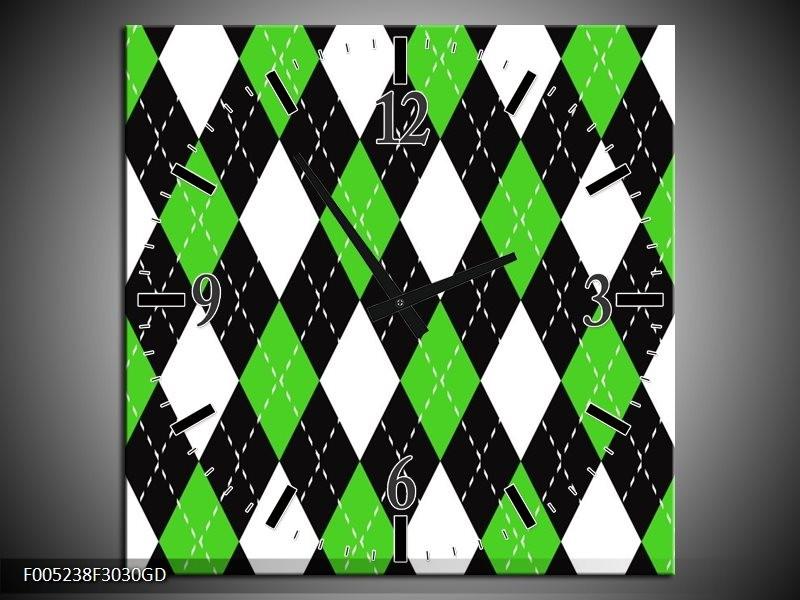 Wandklok op Glas Modern | Kleur: Groen, Wit | F005238CGD
