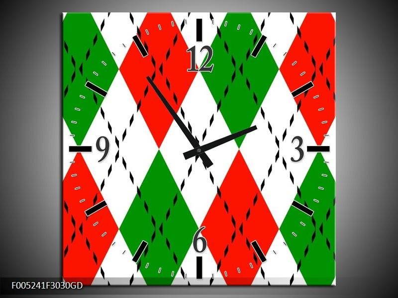 Wandklok op Glas Modern | Kleur: Groen, Rood, Wit | F005241CGD
