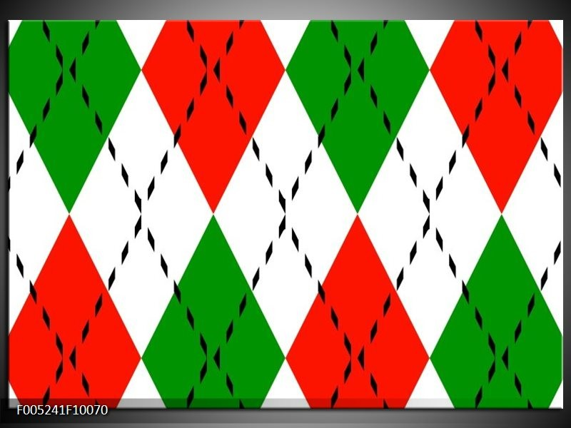 Glas schilderij Modern | Groen, Rood, Wit