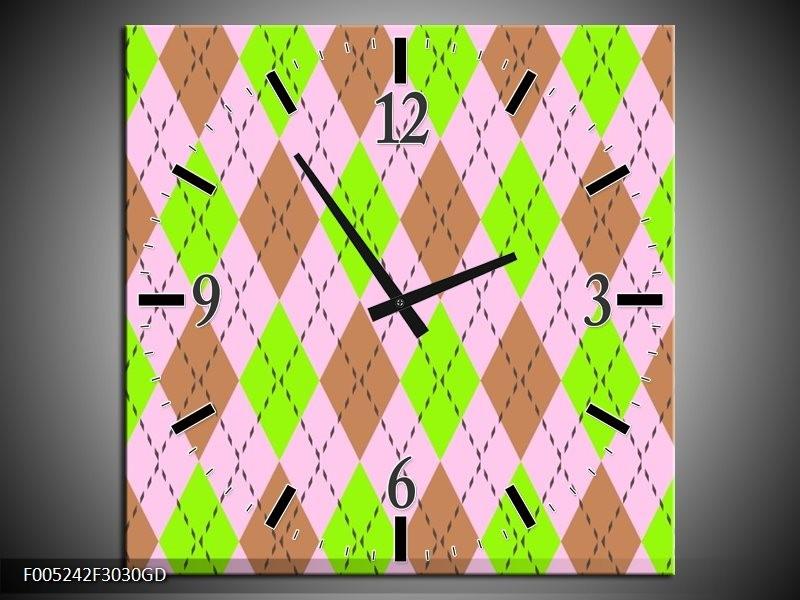 Wandklok op Glas Modern | Kleur: Groen, Bruin, Roze | F005242CGD