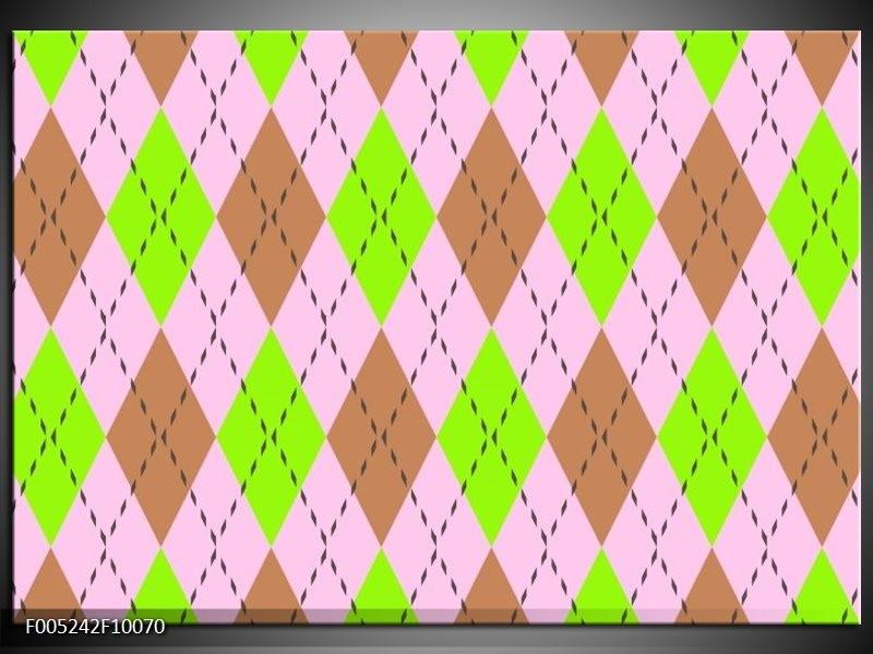 Glas schilderij Modern | Groen, Bruin, Roze