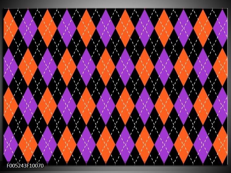 Glas schilderij Modern   Oranje, Paars, Zwart