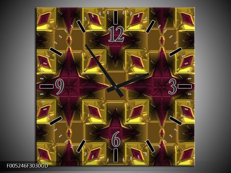 Wandklok op Glas Modern   Kleur: Paars, Geel, Oranje   F005246CGD