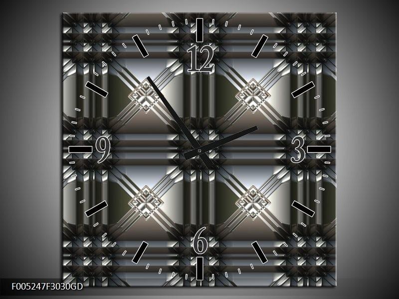 Wandklok op Glas Modern   Kleur: Grijs, Zwart   F005247CGD