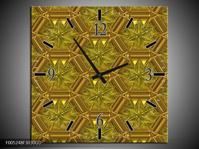 Wandklok op Glas Modern | Kleur: Geel, Goud | F005248CGD