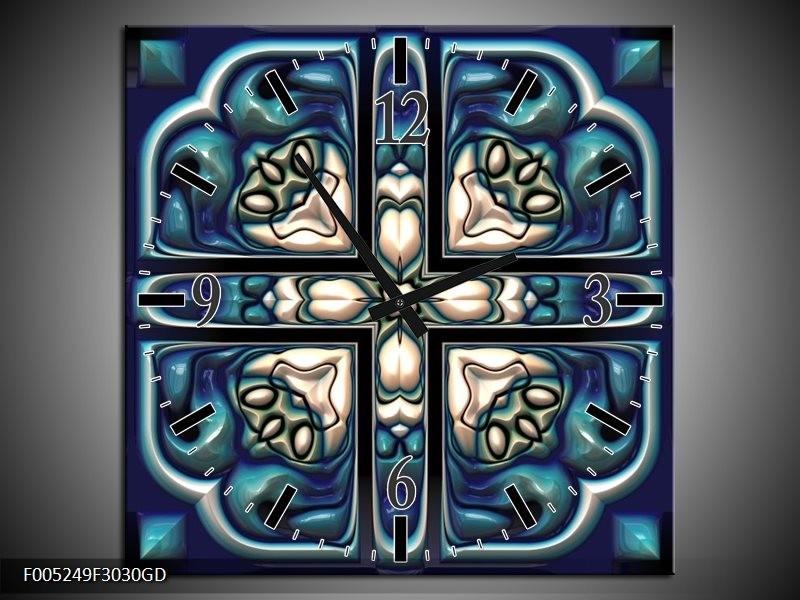 Wandklok op Glas Modern | Kleur: Blauw, Wit | F005249CGD