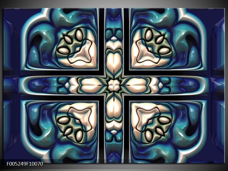 Glas schilderij Modern   Blauw, Wit