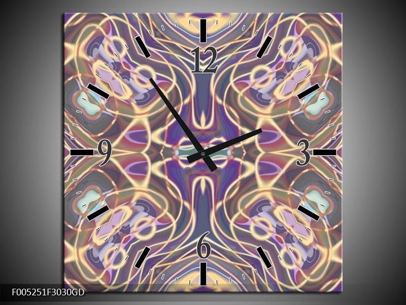 Wandklok op Glas Modern | Kleur: Paars, Blauw, Geel | F005251CGD