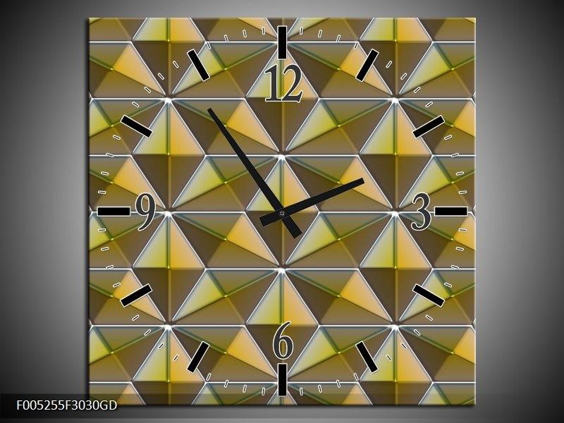 Wandklok op Glas Modern | Kleur: Geel, Groen, Grijs | F005255CGD