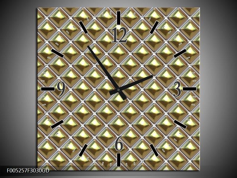 Wandklok op Glas Modern | Kleur: Grijs, Geel, Grijs | F005257CGD