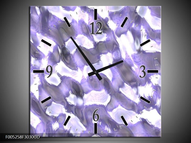 Wandklok op Glas Modern   Kleur: Wit, Grijs, Paars   F005258CGD