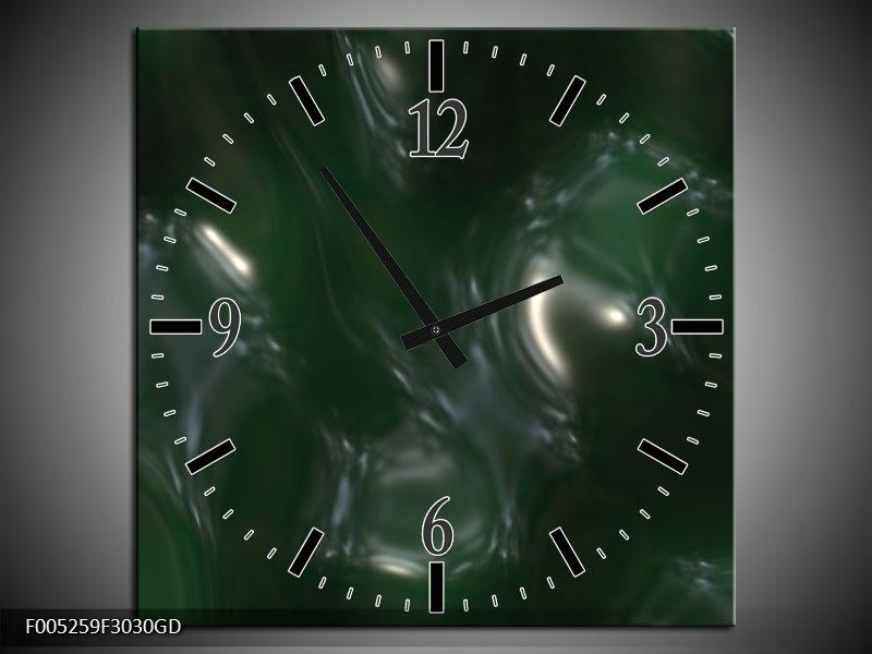 Wandklok op Glas Modern | Kleur: Groen, Wit | F005259CGD