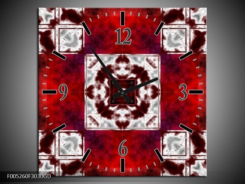 Wandklok op Glas Modern   Kleur: Rood, Wit   F005260CGD
