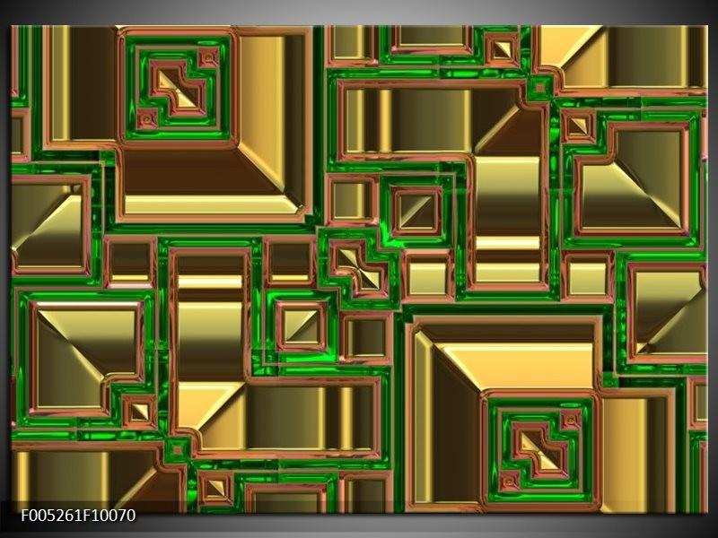 Glas schilderij Modern | Groen, Geel, Oranje
