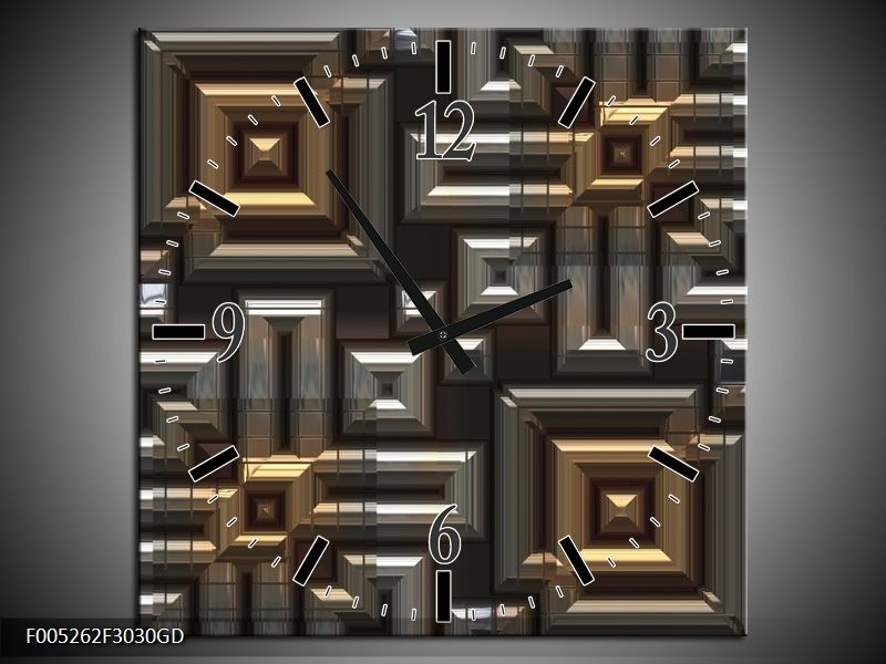 Wandklok op Glas Modern | Kleur: Grijs, Geel, Zwart | F005262CGD