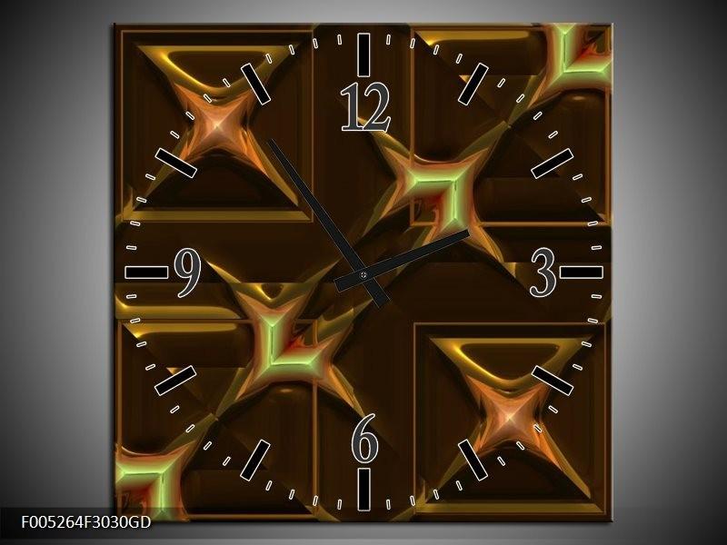 Wandklok op Glas Modern   Kleur: Geel, Bruin, Goud   F005264CGD