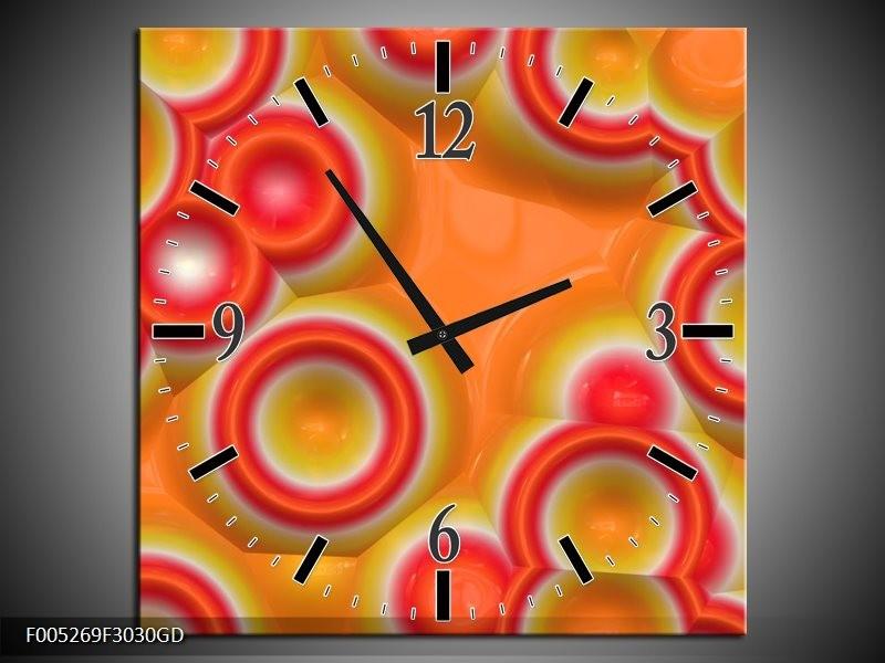 Wandklok op Glas Modern | Kleur: Oranje, Rood, Geel | F005269CGD