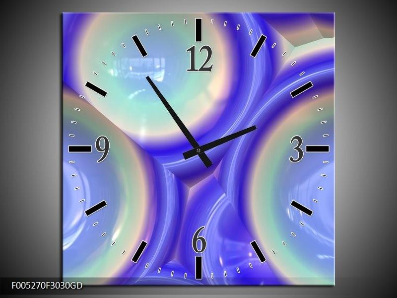 Wandklok op Glas Modern | Kleur: Blauw, Groen | F005270CGD