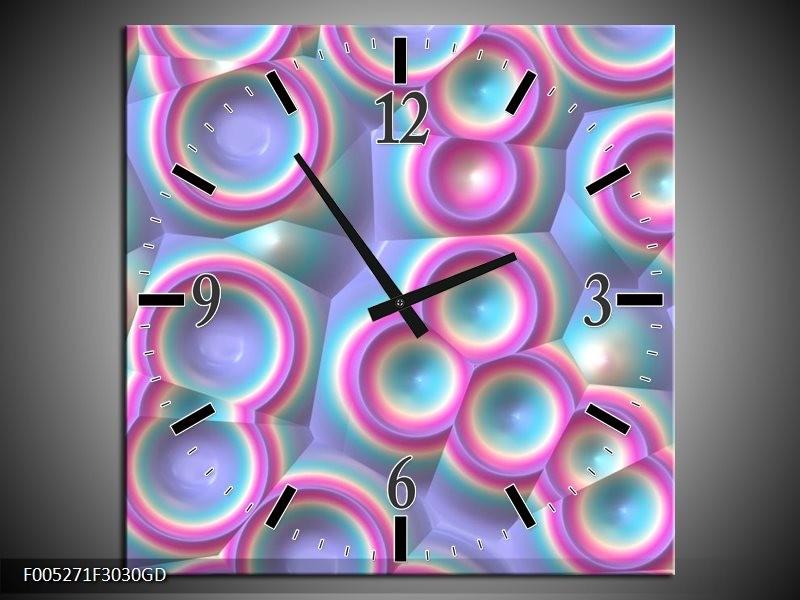 Wandklok op Glas Modern | Kleur: Paars, Blauw, Geel | F005271CGD