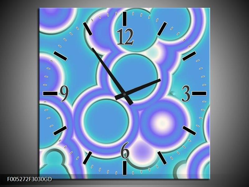 Wandklok op Glas Modern | Kleur: Blauw, Wit | F005272CGD