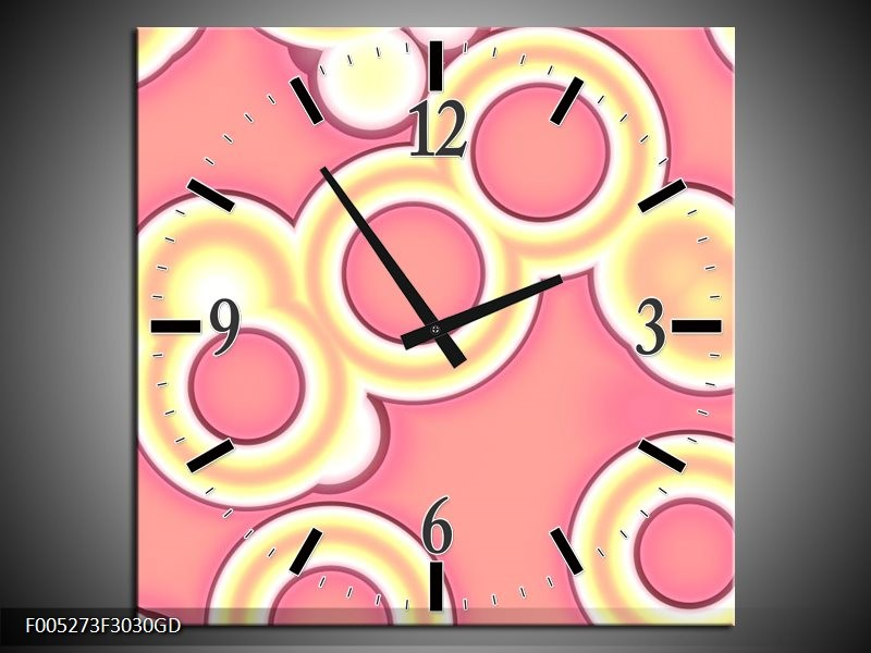 Wandklok op Glas Modern | Kleur: Roze, Geel, Paars | F005273CGD