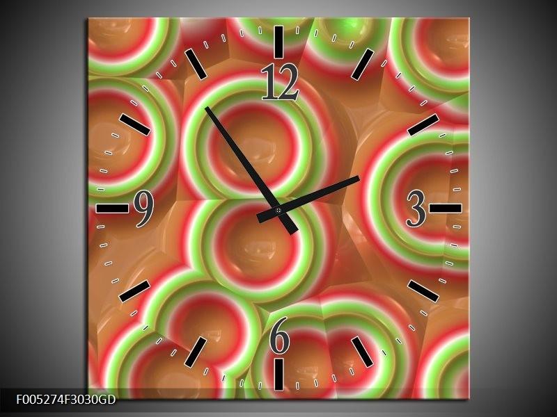 Wandklok op Glas Modern   Kleur: Groen, Rood, Bruin   F005274CGD