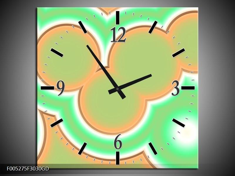 Wandklok op Glas Modern | Kleur: Oranje, Groen, Wit | F005275CGD