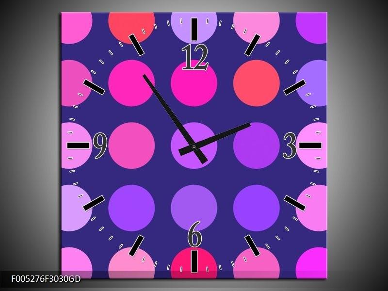Wandklok op Glas Modern | Kleur: Blauw, Paars, Roze | F005276CGD