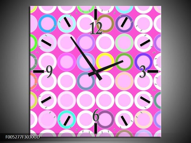 Wandklok op Glas Modern | Kleur: Paars, Wit, Groen | F005277CGD