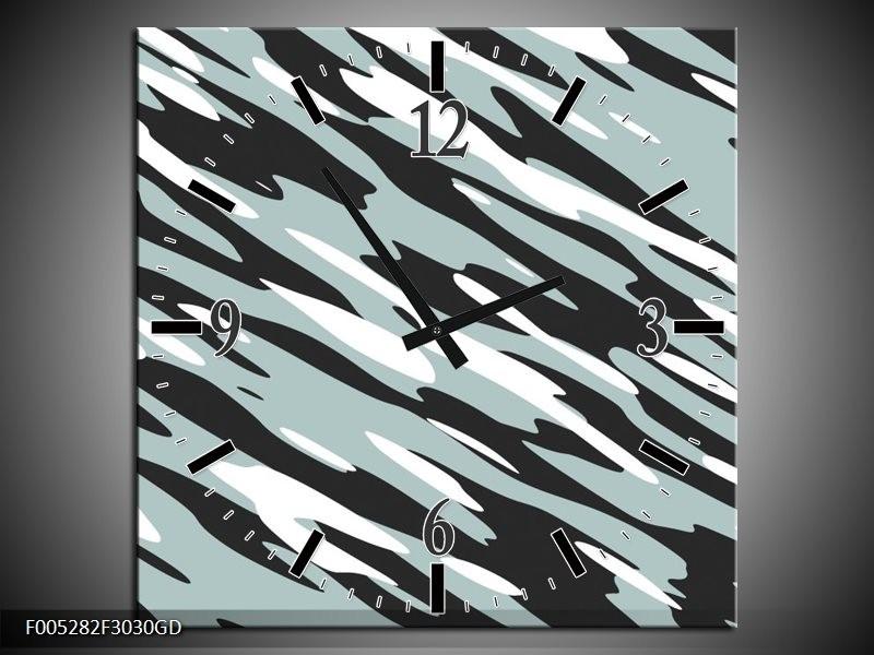 Wandklok op Glas Modern   Kleur: Zwart, Wit, Grijs   F005282CGD