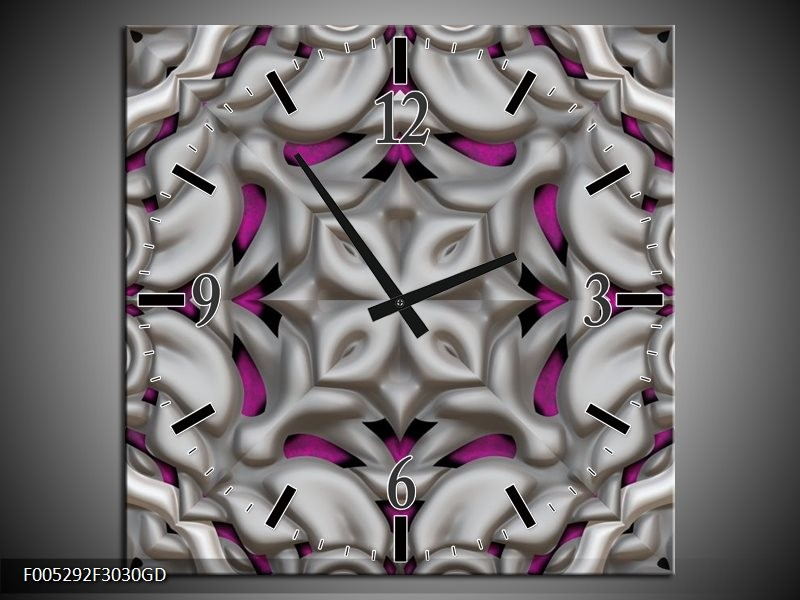 Wandklok op Glas Modern | Kleur: Grijs, Paars | F005292CGD