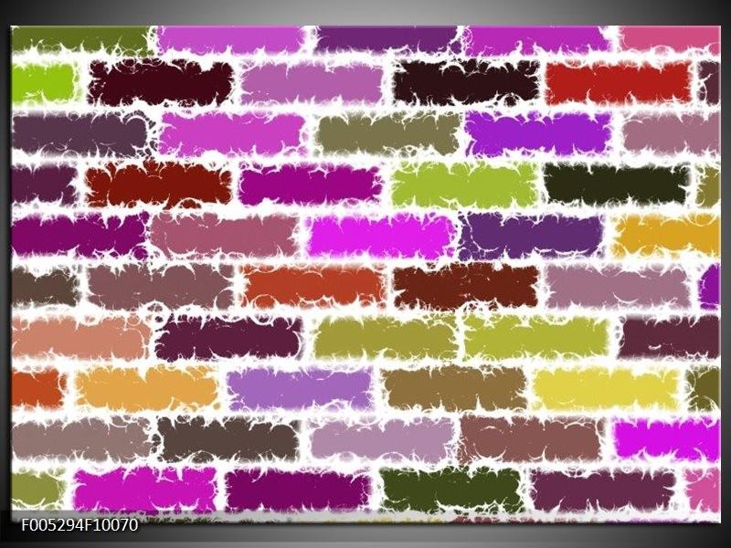 Glas schilderij Modern | Paars, Groen, Geel