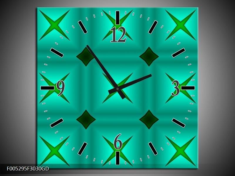 Wandklok op Glas Modern | Kleur: Groen, Blauw | F005295CGD