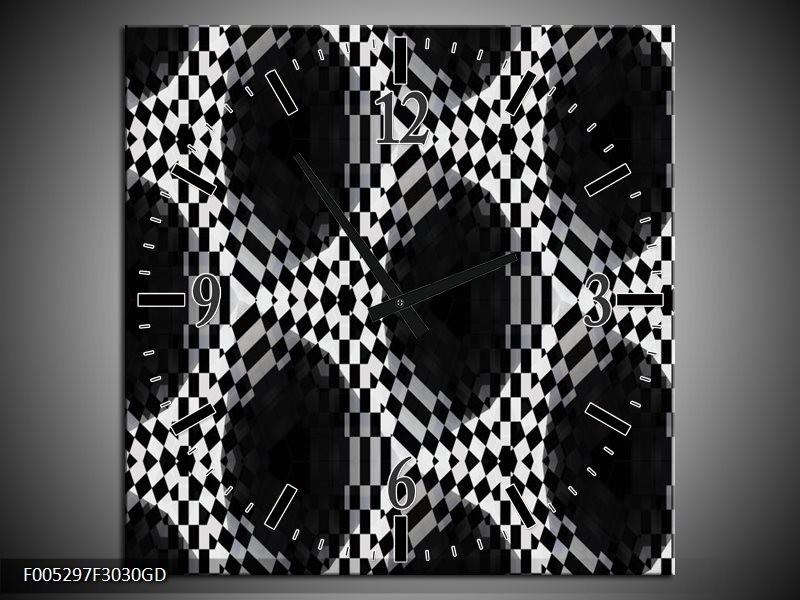 Wandklok op Glas Modern | Kleur: Zwart, Wit, Grijs | F005297CGD