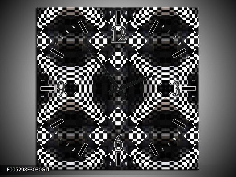 Wandklok op Glas Modern | Kleur: Zwart, Wit, Grijs | F005298CGD