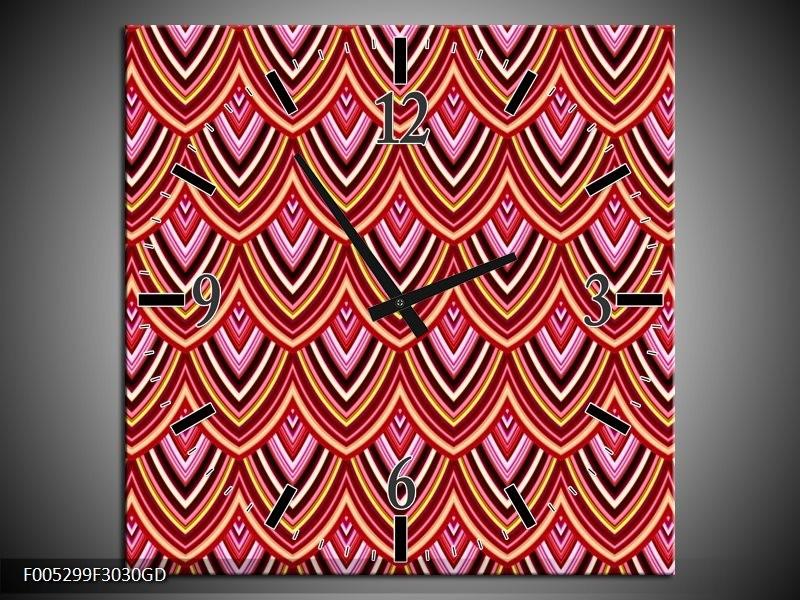 Wandklok op Glas Modern   Kleur: Rood, Bruin, Grijs   F005299CGD