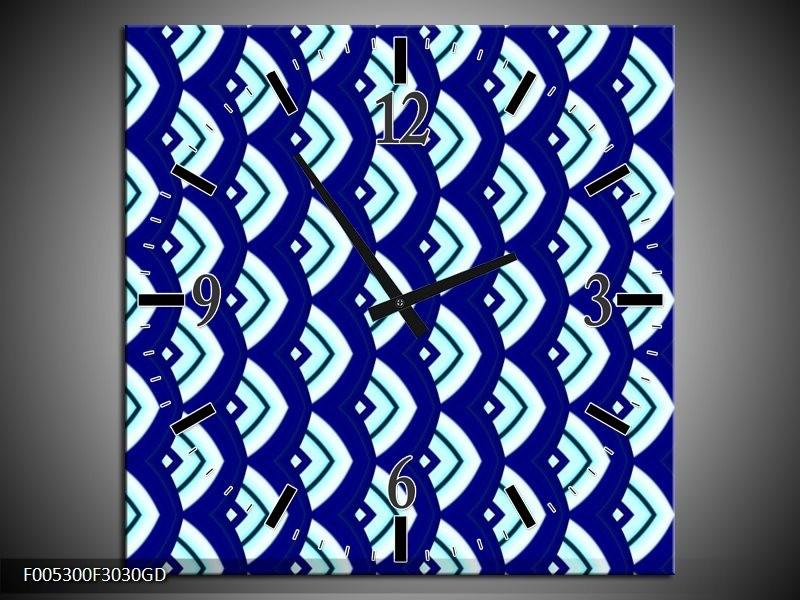 Wandklok op Glas Modern | Kleur: Blauw, Wit | F005300CGD