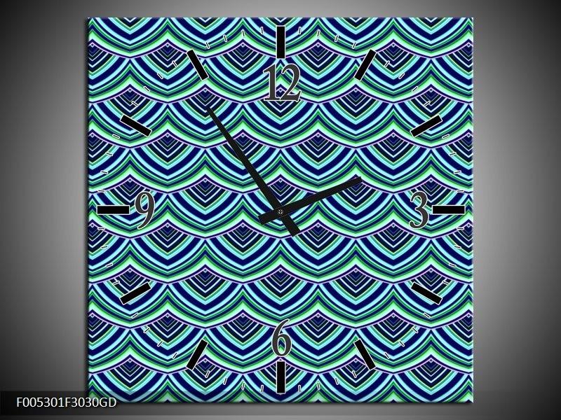 Wandklok op Glas Modern | Kleur: Blauw, Groen | F005301CGD