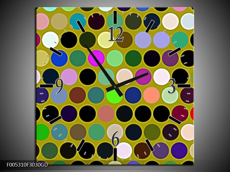 Wandklok op Glas Modern | Kleur: Groen, Blauw, Geel | F005310CGD