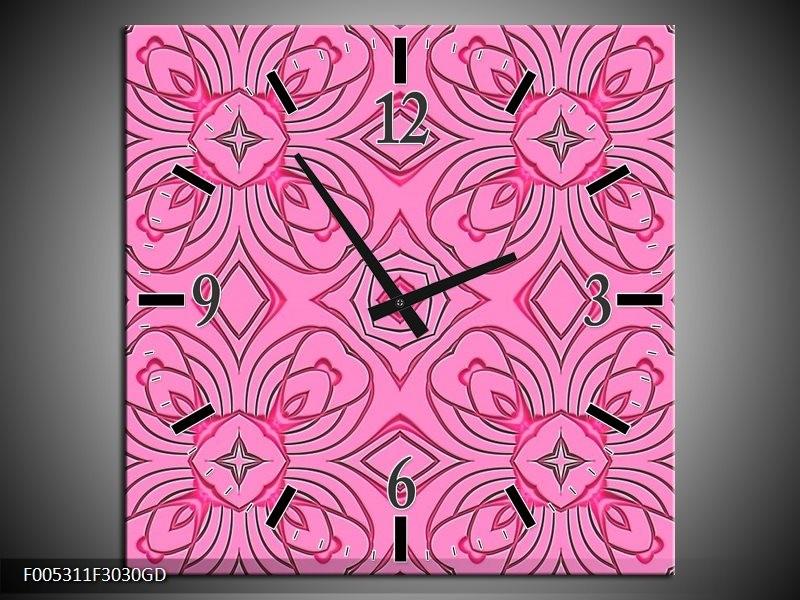 Wandklok op Glas Modern   Kleur: Paars, Roze, Zwart   F005311CGD