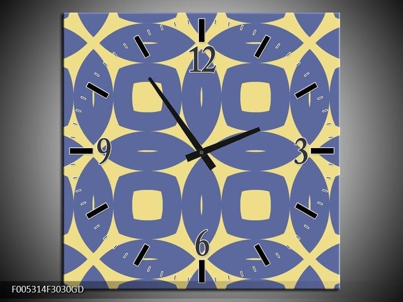 Wandklok op Glas Modern | Kleur: Blauw, Geel | F005314CGD