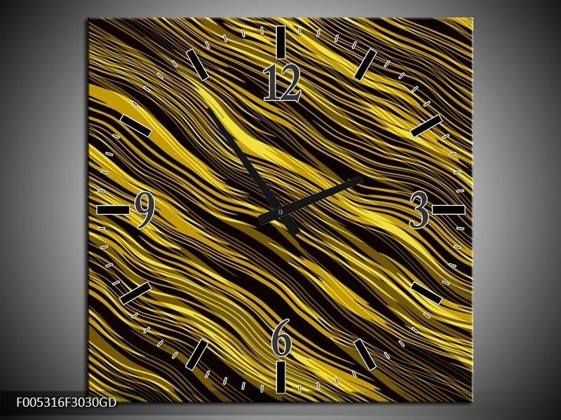 Wandklok op Glas Modern | Kleur: Geel, Zwart, Goud | F005316CGD