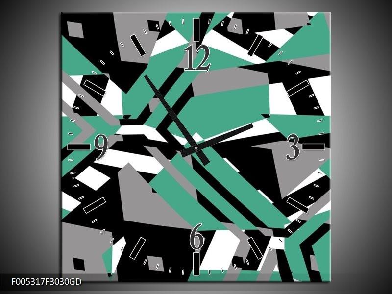 Wandklok op Glas Modern | Kleur: Groen, Wit, Grijs | F005317CGD