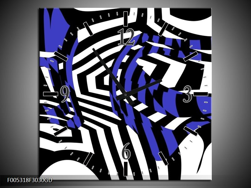 Wandklok op Glas Modern | Kleur: Blauw, Zwart, Wit | F005318CGD