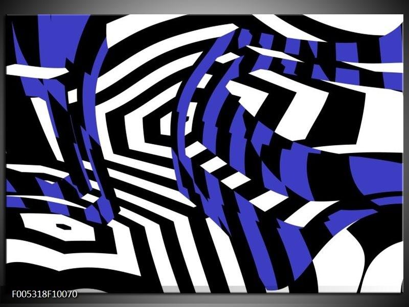 Glas schilderij Modern   Blauw, Zwart, Wit