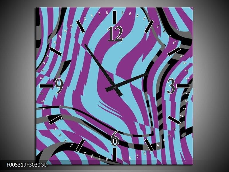 Wandklok op Glas Modern   Kleur: Blauw, Paars, Zwart   F005319CGD